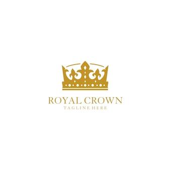 Modèle de conception de logo de la couronne royale d'or