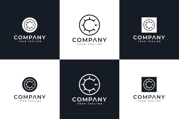 Modèle de conception de logo créatif et de carte de visite de cercle de lettre c vecteur premium