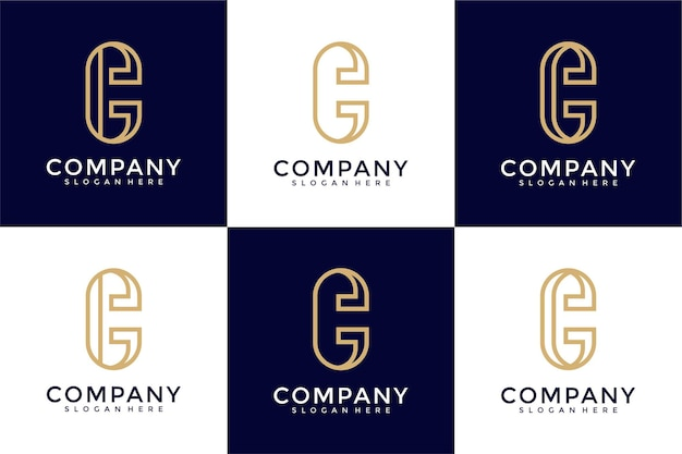 Modèle de conception de logo créatif initiales monogramme c