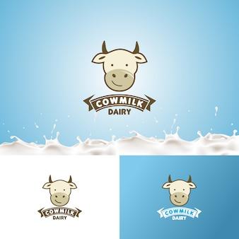 Modèle de conception de logo créatif lait laitier vache