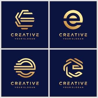 Modèle de conception de logo créatif lettre e.