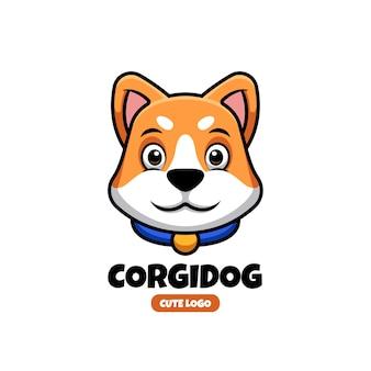Modèle de conception de logo de créations d'animaux de compagnie de corgi mignon