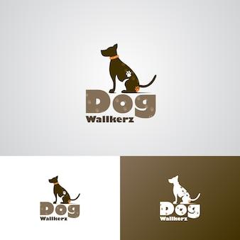 Modèle de conception de logo creative dog walker