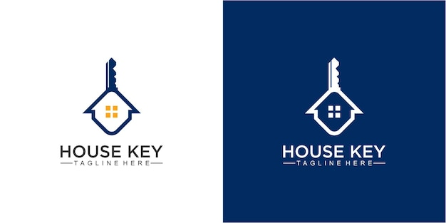 Modèle de conception de logo creative house and key