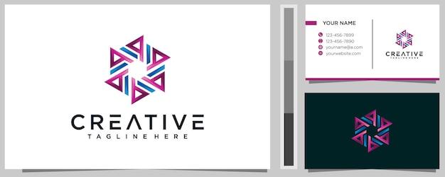 Modèle de conception de logo creative letter da avec carte de visite