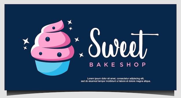 Modèle de conception de logo de crème glacée sucrée