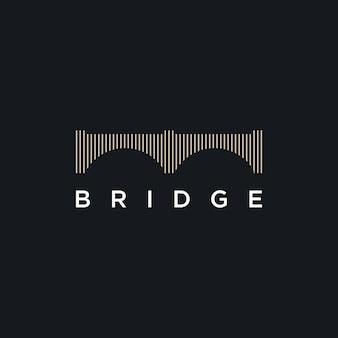 Modèle de conception de logo de croisement de pont
