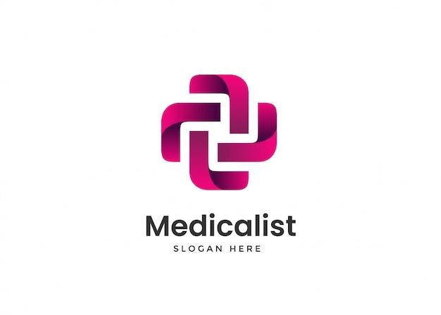 Modèle de conception de logo de croix médicale médicale moderne