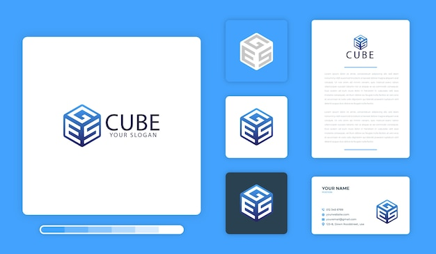Modèle de conception de logo de cube