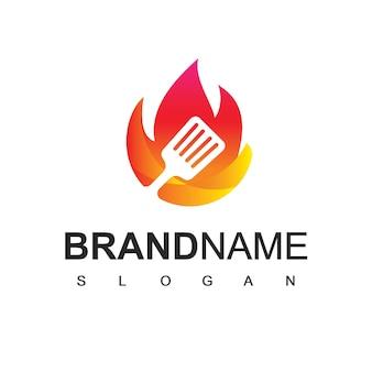 Modèle de conception de logo de cuisine, symbole de café et de restaurant