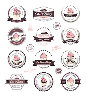 Modèle de conception de logo cupcake et boulangerie