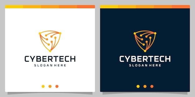 Modèle de conception de logo cyber tech ou modèle de logo abstrait de carte de circuit technologique futuriste.
