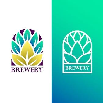 Modèle de conception de logo dégradé de brasserie