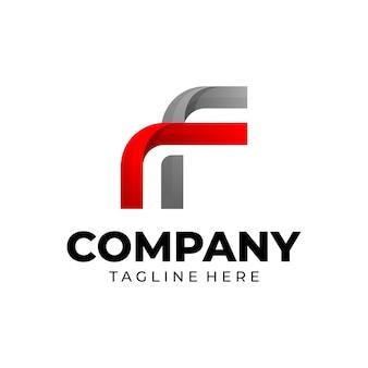 Modèle de conception de logo dégradé lettre f