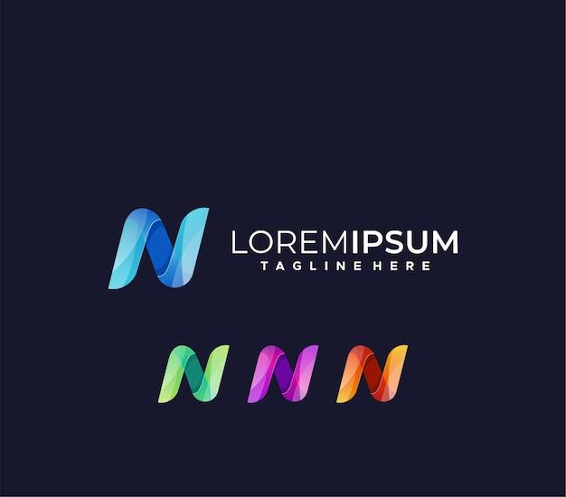 Modèle de conception de logo dégradé lettre n