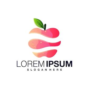 Modèle de conception de logo dégradé pomme