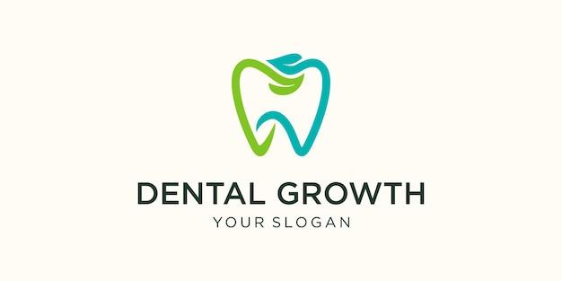 Modèle De Conception De Logo Dentaire Clinique Naturelle Vecteur Premium