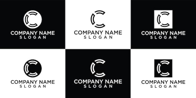 Modèle de conception de logo design plat c