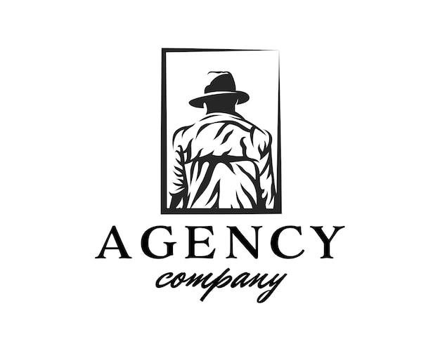 Modèle de conception de logo de détective d'agent de logo vers l'arrière de l'homme au chapeau