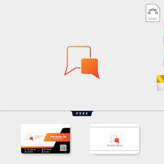 Modèle de conception de logo de discussion et de carte de visite