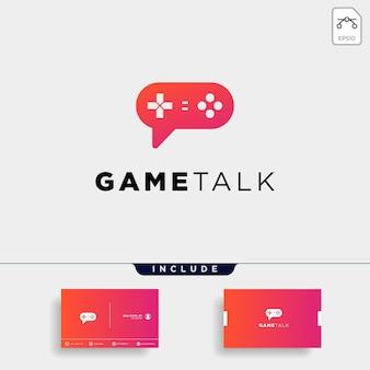 Le modèle de conception de logo de discussion de jeu avec carte de visite comprend un élément d'icône d'illustration vectorielle - vecteur