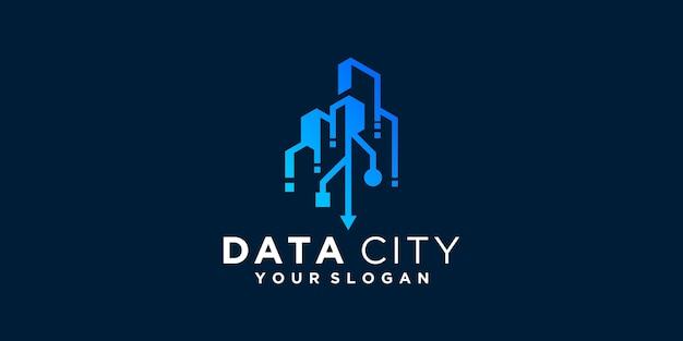Modèle de conception de logo de données de ville de technologie intelligente