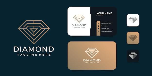 Modèle de conception de logo doré de gemmes de diamant féminin créatif.