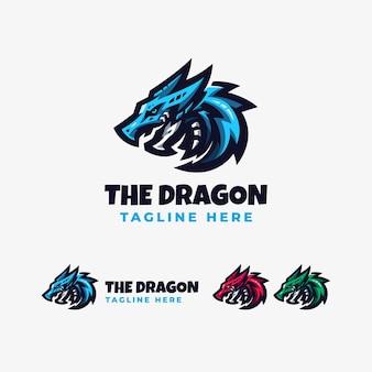 Modèle de conception de logo dragon esport