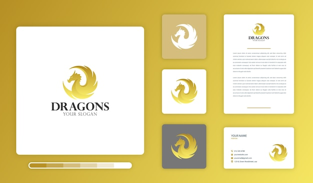 Modèle de conception de logo de dragons