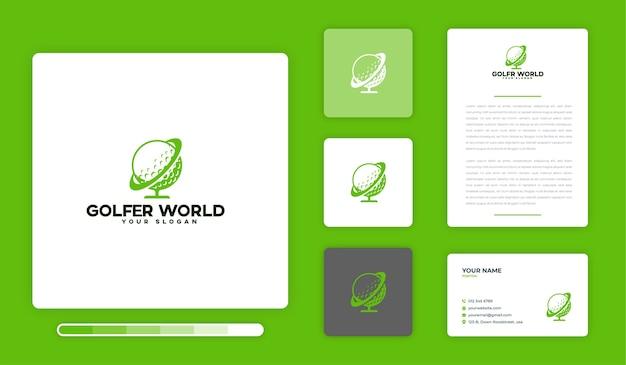 Modèle de conception de logo du monde du golfeur