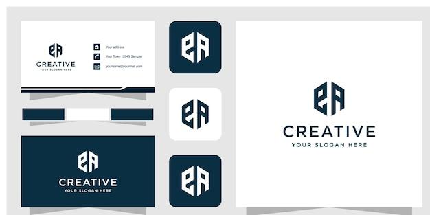 Modèle de conception de logo ea initial et carte de visite