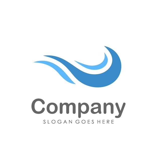 Modèle de conception de logo d'eau vague
