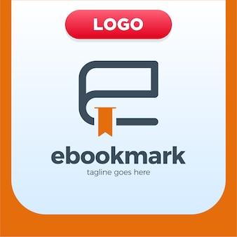 Modèle de conception de logo ebook lettre initiale e