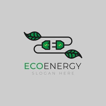 Modèle de conception de logo eco power vecteur de conception de logo feuille créative