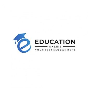 Modèle de conception de logo de l'éducation en ligne.