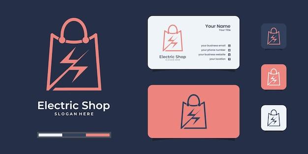 Modèle de conception de logo électrique abstrait shopping.