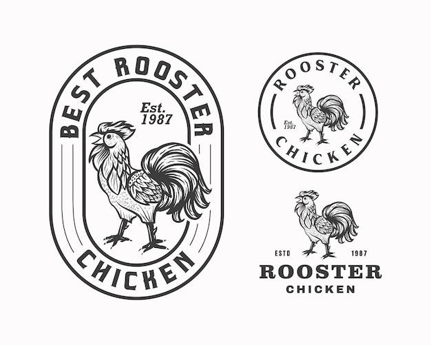 Modèle de conception de logo emblème coq poulet