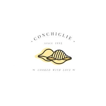 Modèle de conception de logo et emblème ou insigne. pâtes italiennes - conchiglie. logos linéaires.