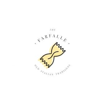 Modèle de conception de logo et emblème ou insigne. pâtes italiennes - farfalle. logos linéaires.