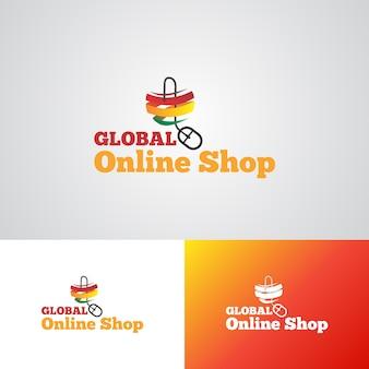 Modèle de conception de logo d'entreprise en ligne globale