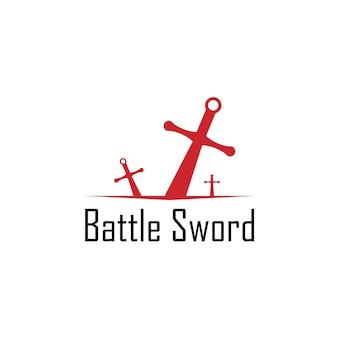 Modèle de conception de logo d'épée