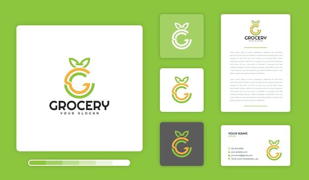Modèle de conception de logo d'épicerie