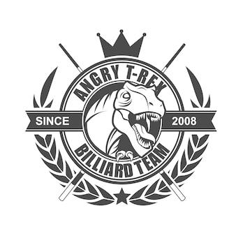 Modèle de conception de logo d'équipe angry t rex billard