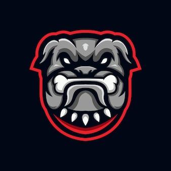Modèle de conception de logo esport bulldog