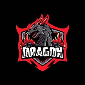 Modèle de conception de logo esport dragon rouge