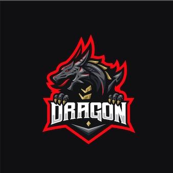Modèle de conception de logo esport dragon rouge