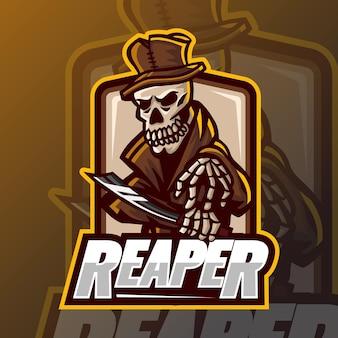 Modèle de conception de logo esport reaper