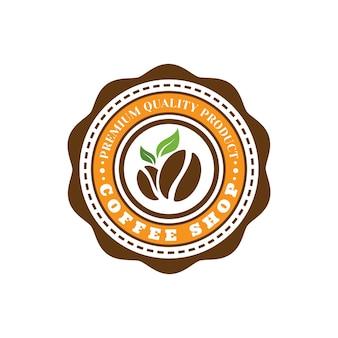 Modèle de conception de logo d'étiquette de café