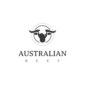 Modèle de conception de logo d'étiquette d'emblème de boeuf australien vintage rétro