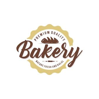 Modèle de conception de logo d'étiquette d'étiquette de boulangerie de boulangerie classique rétro vintage